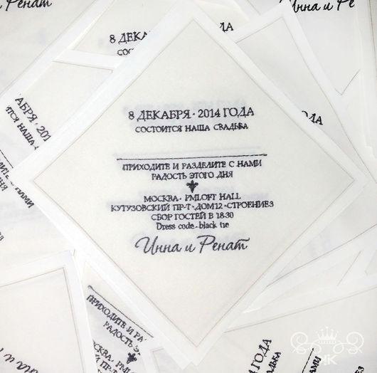 Свадебные аксессуары ручной работы. Ярмарка Мастеров - ручная работа. Купить Приглашение на свадьбу вышивка Монограмма. Handmade. Пригласительные, пригласительный