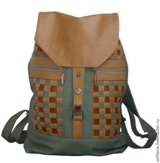 Рюкзаки ручной работы. Ярмарка Мастеров - ручная работа. Купить Рюкзак кожаный с плетением Бежевый. Handmade. Кожаный рюкзак