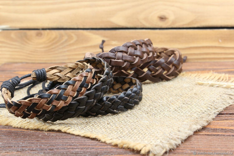 Leather braided bracelet ' Weaving', Braided bracelet, Tambov,  Фото №1