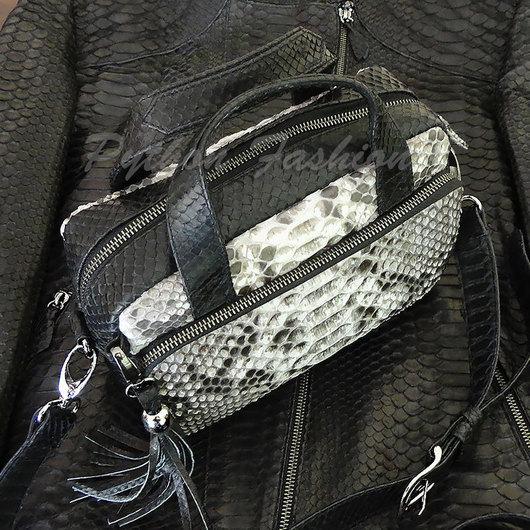 Красивая сумочка из кожи питона на длинной цепочке через плечо. Дизайнерская сумочка из питона, авторская работа на заказ. Сумочка кросс боди из питона на каждый день. Весенняя легкая сумочка на весну