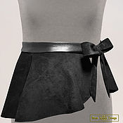 Harness handmade. Livemaster - original item Belt with peplum combo of genuine suede and leather. Handmade.