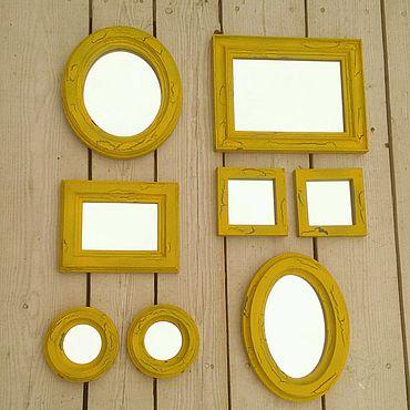 Для дома и интерьера ручной работы. Ярмарка Мастеров - ручная работа Комплект рамок состаренных, шебби шик, провас, панно с зеркалами. Handmade.