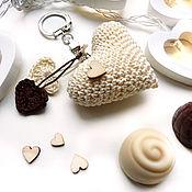 Сумки и аксессуары handmade. Livemaster - original item Keychain 5 cm Knitted heart Light chocolate. Handmade.