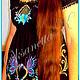 For Mums-to-Be & New Mums handmade. tunic of black linen'fabulous night'. Individual vyshivanka. (oksanetta). My Livemaster.