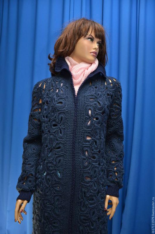 Верхняя одежда ручной работы. Ярмарка Мастеров - ручная работа. Купить Весенние мотивы....-пальто. Handmade. Тёмно-синий, модное