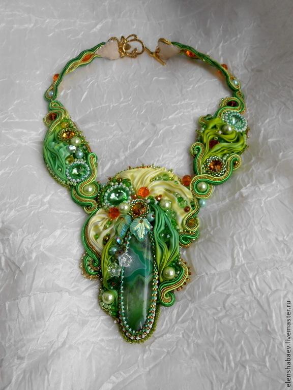Necklace 'Milan' with the Shibori silk ribbon, Necklace, Blagoveshchensk,  Фото №1