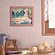 Картина небольшая в интерьер Розовый бежевый белый голубой бирюзовый Картина в пастельных тонах Купить картину пейзаж в интерьер