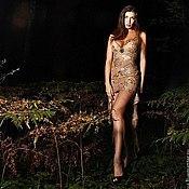 Одежда ручной работы. Ярмарка Мастеров - ручная работа Платье из золотого кружева. Handmade.