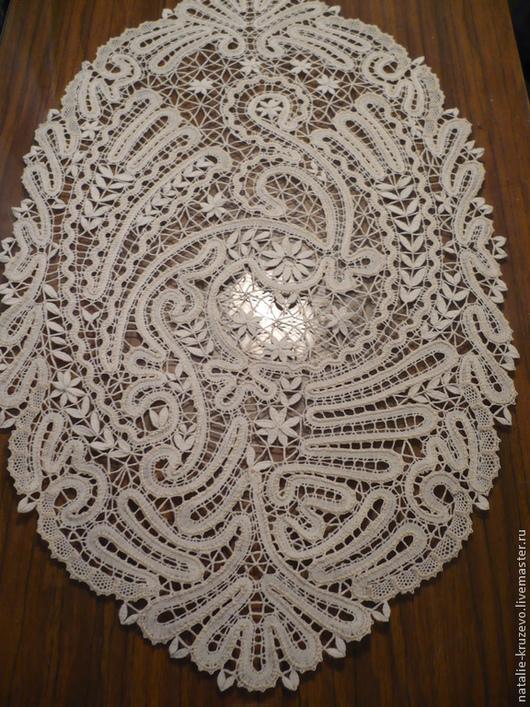Текстиль, ковры ручной работы. Ярмарка Мастеров - ручная работа. Купить Салфетка-панно. Handmade. Белый, кружево на коклюшках, лен