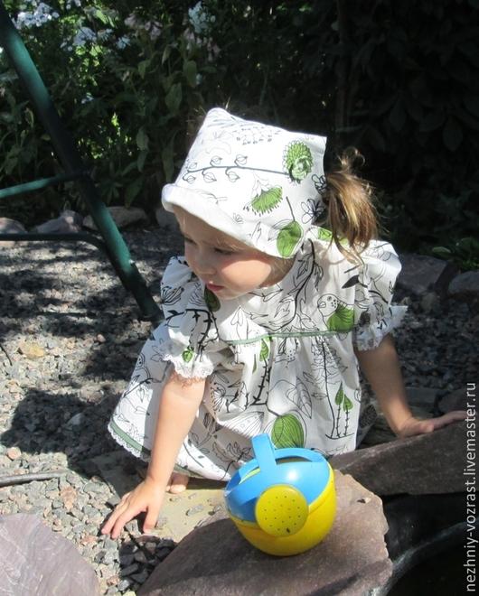 """Одежда для девочек, ручной работы. Ярмарка Мастеров - ручная работа. Купить Платье """"Дача"""". Handmade. Рисунок, веселый подарок, на лето"""