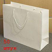 Пакеты ручной работы. Ярмарка Мастеров - ручная работа 35х24х8 - пакеты белые крафт с ручками веревочными, 50 штук. Handmade.