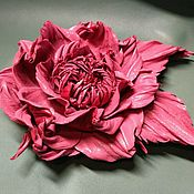 Брошь- цветок из кожи.