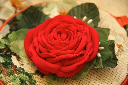"""Детская бижутерия ручной работы. Ярмарка Мастеров - ручная работа. Купить Заколка для волос """"роза"""". Handmade. Цветок из ткани, брошь"""