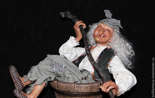 Коллекционные куклы ручной работы. Ярмарка Мастеров - ручная работа. Купить Баба-Яга в ступе. Handmade. Хаки, кукла