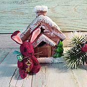Мягкие игрушки ручной работы. Ярмарка Мастеров - ручная работа Мини зайка винтажный вишневый на ЗАКАЗ. Handmade.