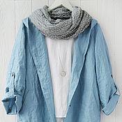 Одежда handmade. Livemaster - original item Blue cardigan jacket made of 100% linen. Handmade.
