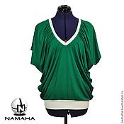 Одежда ручной работы. Ярмарка Мастеров - ручная работа Топ летний, зелёный топ, туника летняя, майка женская, топ трикотажный. Handmade.