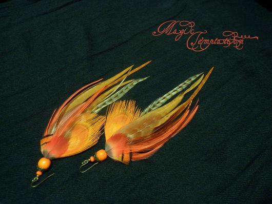 Серьги ручной работы. Ярмарка Мастеров - ручная работа. Купить Персиковые серьги с пером павлина. Handmade. Оранжевый, оранжевые сережки