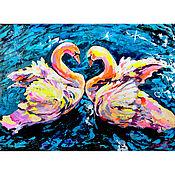 """Картины и панно handmade. Livemaster - original item Swan painting """"Andante"""". Handmade."""