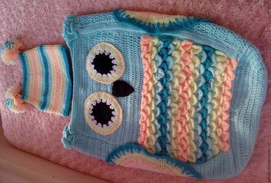 Для новорожденных, ручной работы. Ярмарка Мастеров - ручная работа. Купить Кокон для младенцев и шапочка с помпонами. Handmade. Комбинированный, для сна
