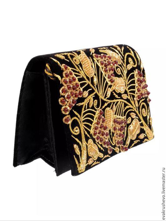 Винтажные сумки и кошельки. Ярмарка Мастеров - ручная работа. Купить №900 Антикварная сумочка ручная вышивка. Handmade. Черный, винтаж