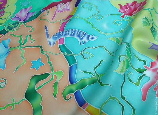 """Шарфы и шарфики ручной работы. Ярмарка Мастеров - ручная работа. Купить Шелковый шарфик  """"Про горошек и кошек"""" (батик). Handmade."""