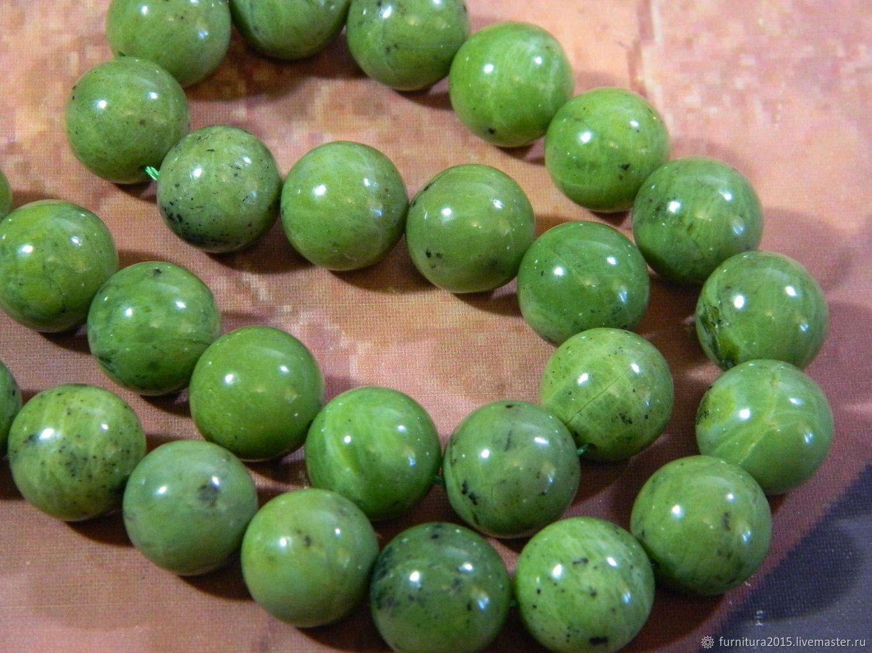 Jade beads 14 mm piece, Beads1, Saratov,  Фото №1