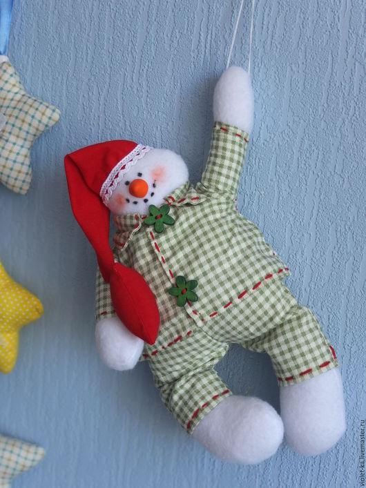 Новый год 2017 ручной работы. Ярмарка Мастеров - ручная работа. Купить Пижамный снеговик. Handmade. Зеленый, Новый Год, хлопок