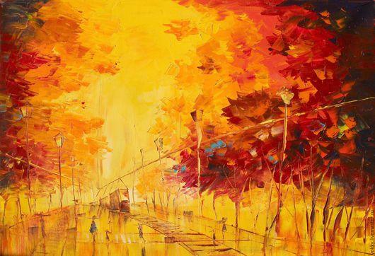 Пейзаж ручной работы. Ярмарка Мастеров - ручная работа. Купить Яркая Осень. Handmade. Рыжий, осень, яркая, осенний, Большая