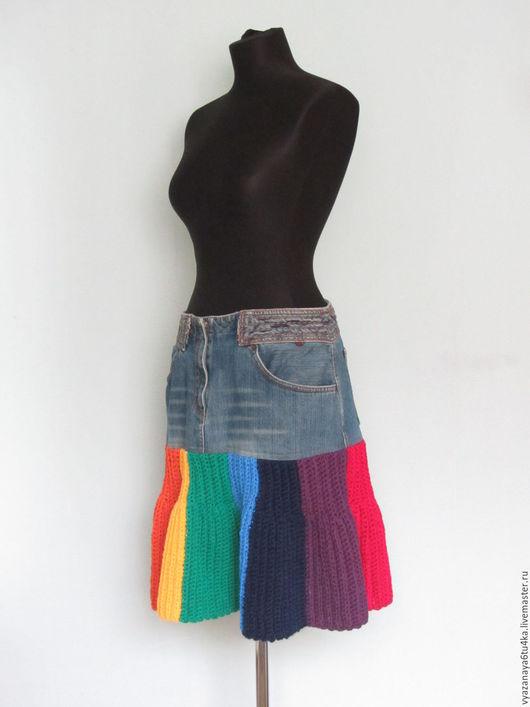 """Юбки ручной работы. Ярмарка Мастеров - ручная работа. Купить Джинсовая юбка """"Радуга"""". Handmade. Комбинированный, джинса, акриловая нить"""