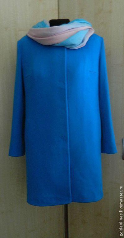 Верхняя одежда ручной работы. Ярмарка Мастеров - ручная работа. Купить пальто без воротника. Handmade. Синий, Светлое пальто