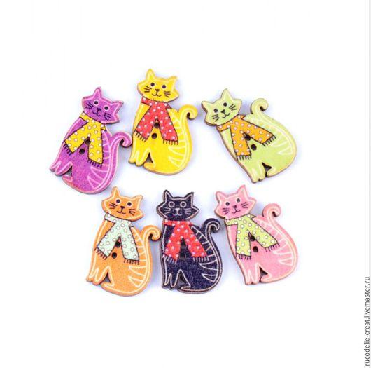 Шитье ручной работы. Ярмарка Мастеров - ручная работа. Купить пуговицы Коты. Handmade. Комбинированный, пуговица, пуговицы, пуговицы декоративные