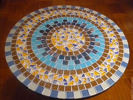 """Мебель ручной работы. Ярмарка Мастеров - ручная работа. Купить Мозаичный столик придиванный """"Beige-blue"""". Handmade. Мозаика, подарок"""