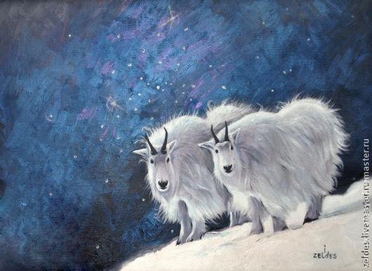 """Животные ручной работы. Ярмарка Мастеров - ручная работа. Купить """"Две звезды"""". Handmade. Синий, Овечки, картина в подарок"""