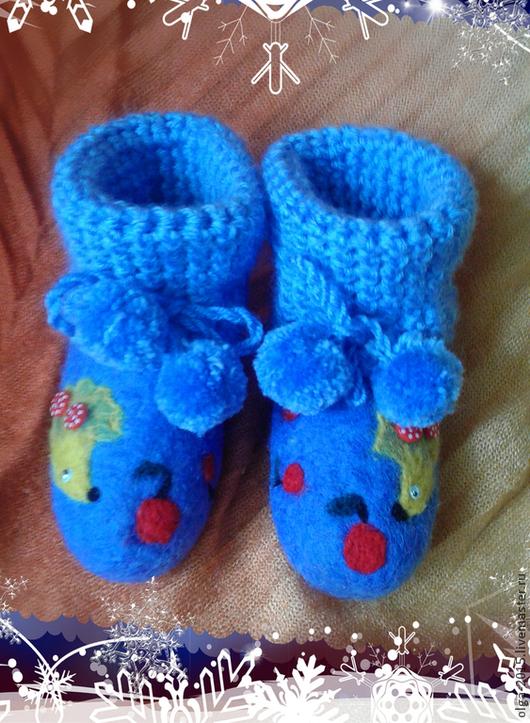 Обувь ручной работы. Ярмарка Мастеров - ручная работа. Купить Пинетки детские. Handmade. Синий, пинетки в подарок, пинетки для малыша