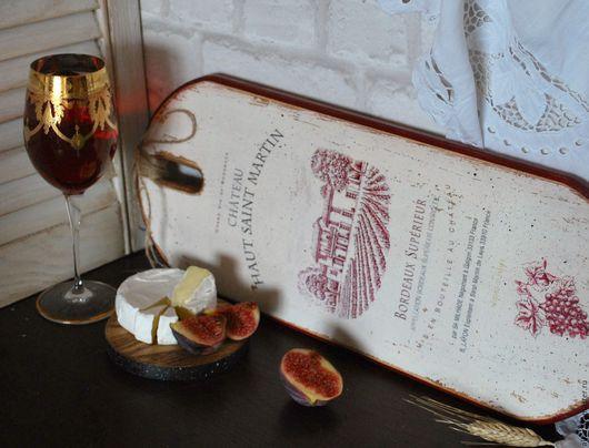 Кухня ручной работы. Ярмарка Мастеров - ручная работа. Купить СHATEAU Bordeaux доска. Handmade. Бордовый, шато, вино
