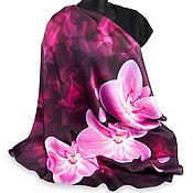 Аксессуары ручной работы. Ярмарка Мастеров - ручная работа Шелковый платок с цветами Орхидея бордо, натуральный шелк. Handmade.