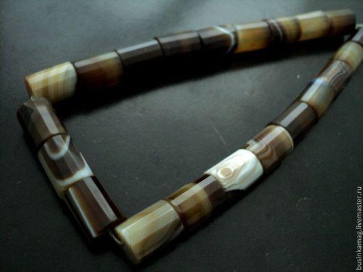 Для украшений ручной работы. Ярмарка Мастеров - ручная работа. Купить Агат натуральный крупные граненые бусины трубочки 19мм. Handmade.