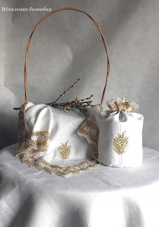 """Подарки на Пасху ручной работы. Ярмарка Мастеров - ручная работа. Купить Льяной набор """"Фаберже - золото"""" 2 предмета. Handmade."""