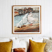 handmade. Livemaster - original item Cooing doves, oil painting on canvas, lovers, love. Handmade.