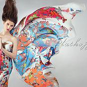 """Аксессуары handmade. Livemaster - original item Натуральный шелковый платок из ткани Christian Lacroix """"Бабочки"""". Handmade."""