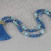 Украшения handmade. Livemaster - original item Beads with silk brush of agate and quartz