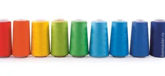 Нитки швейные 100% полиэстер 40/2, 400 ярд в/с цветные:  красные, оранжевые, желтые, голубые, темно-синие, черные, серые
