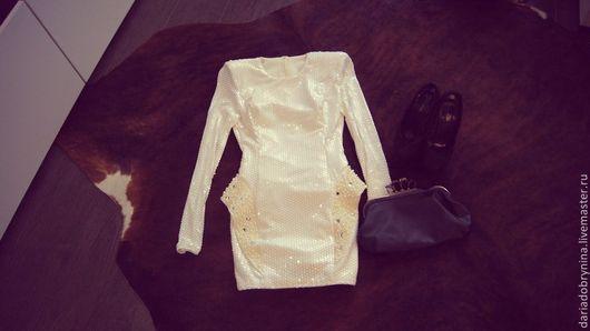Платья ручной работы. Ярмарка Мастеров - ручная работа. Купить Платье с паетками White. Handmade. Белый, жемчуг, стеклярус, паетки