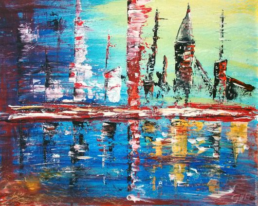 """Город ручной работы. Ярмарка Мастеров - ручная работа. Купить Абстрактная картина """"День-ночь"""". Handmade. Комбинированный, стилизация, город"""