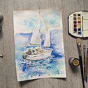 Картины и панно handmade. Livemaster - original item Watercolor turquoise lagoon. Handmade.
