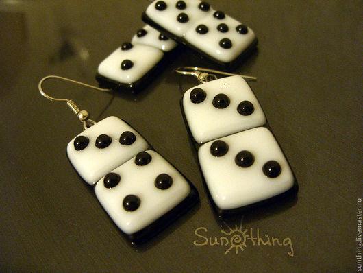 Earrings handmade. Livemaster - handmade. Buy Earrings 'Domino'.Fusing, earrings made of glass, black and white