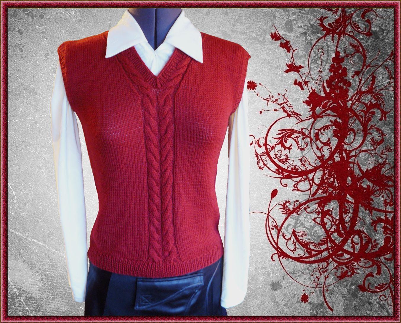 Vest knitted 'Two braids', Childrens vest, Chekhov,  Фото №1