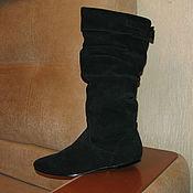 Винтаж handmade. Livemaster - original item Vintage shoes: Demi-season suede black boots 40. Handmade.