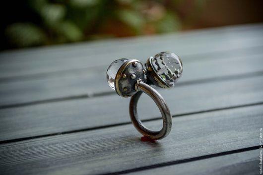 Кольца ручной работы. Ярмарка Мастеров - ручная работа. Купить Кольцо серебро TWIN: серебро, золото, горный хрусталь. Handmade.